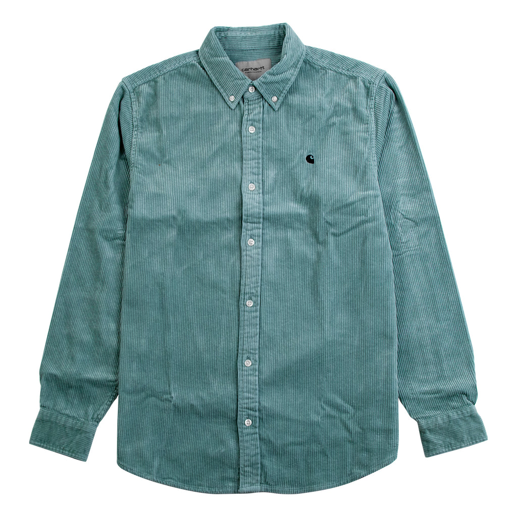 Carhartt WIP L/S Madison Cord Shirt in Frosted Green / Black