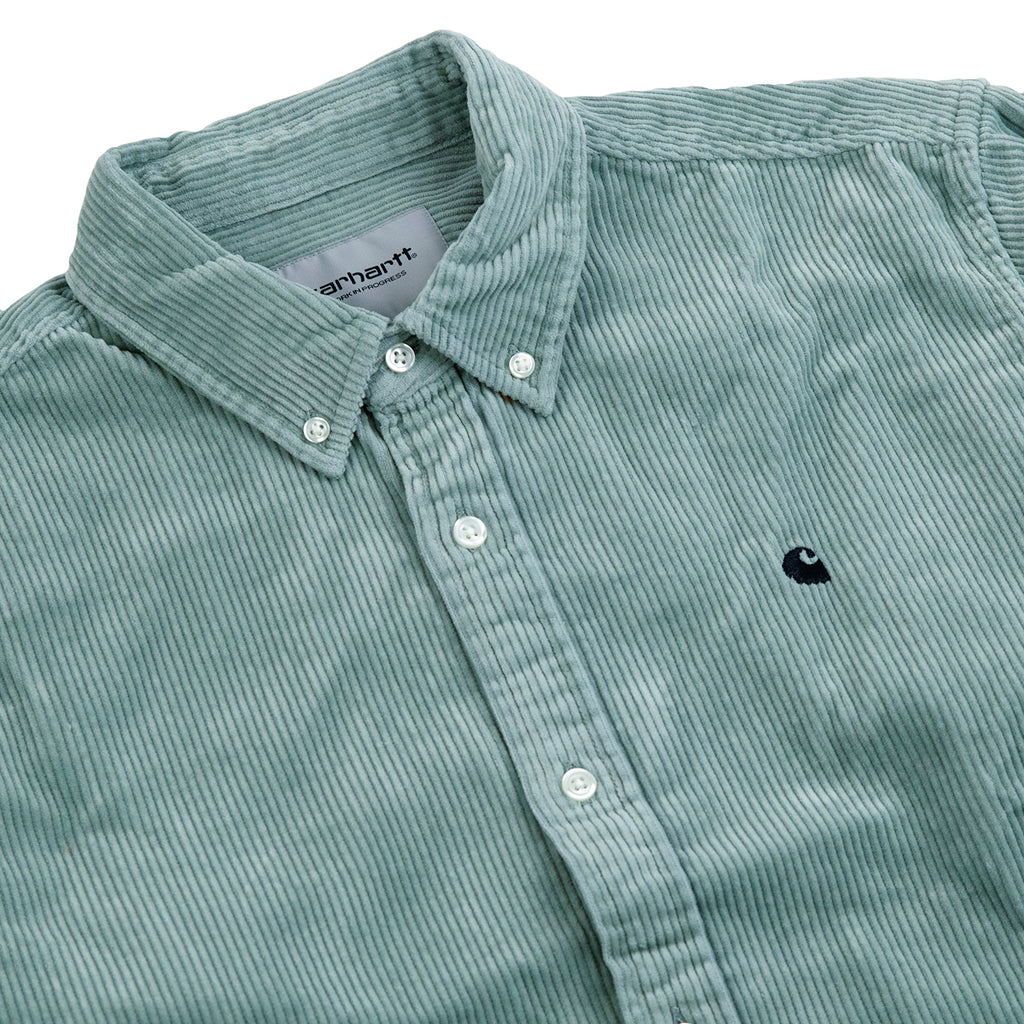 Carhartt WIP L/S Madison Cord Shirt in Frosted Green / Black - Detail