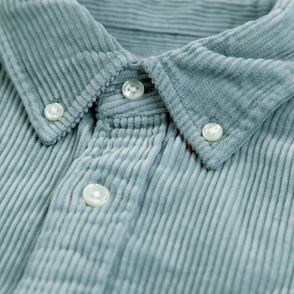 Carhartt WIP L/S Madison Cord Shirt in Frosted Green / Black - Collar