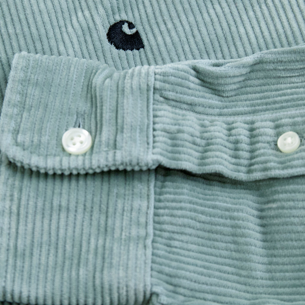 Carhartt WIP L/S Madison Cord Shirt in Frosted Green / Black - Cuff