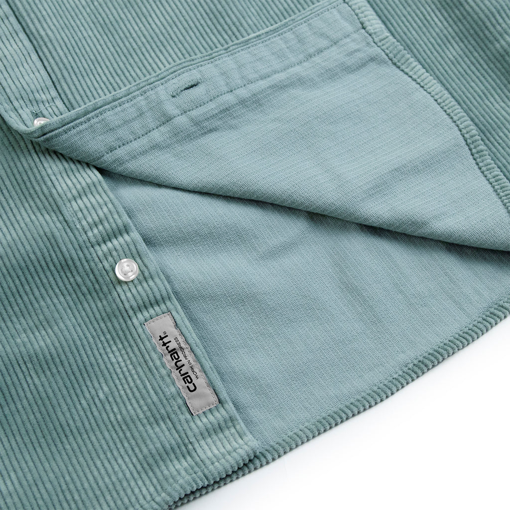 Carhartt WIP L/S Madison Cord Shirt in Frosted Green / Black - Inside