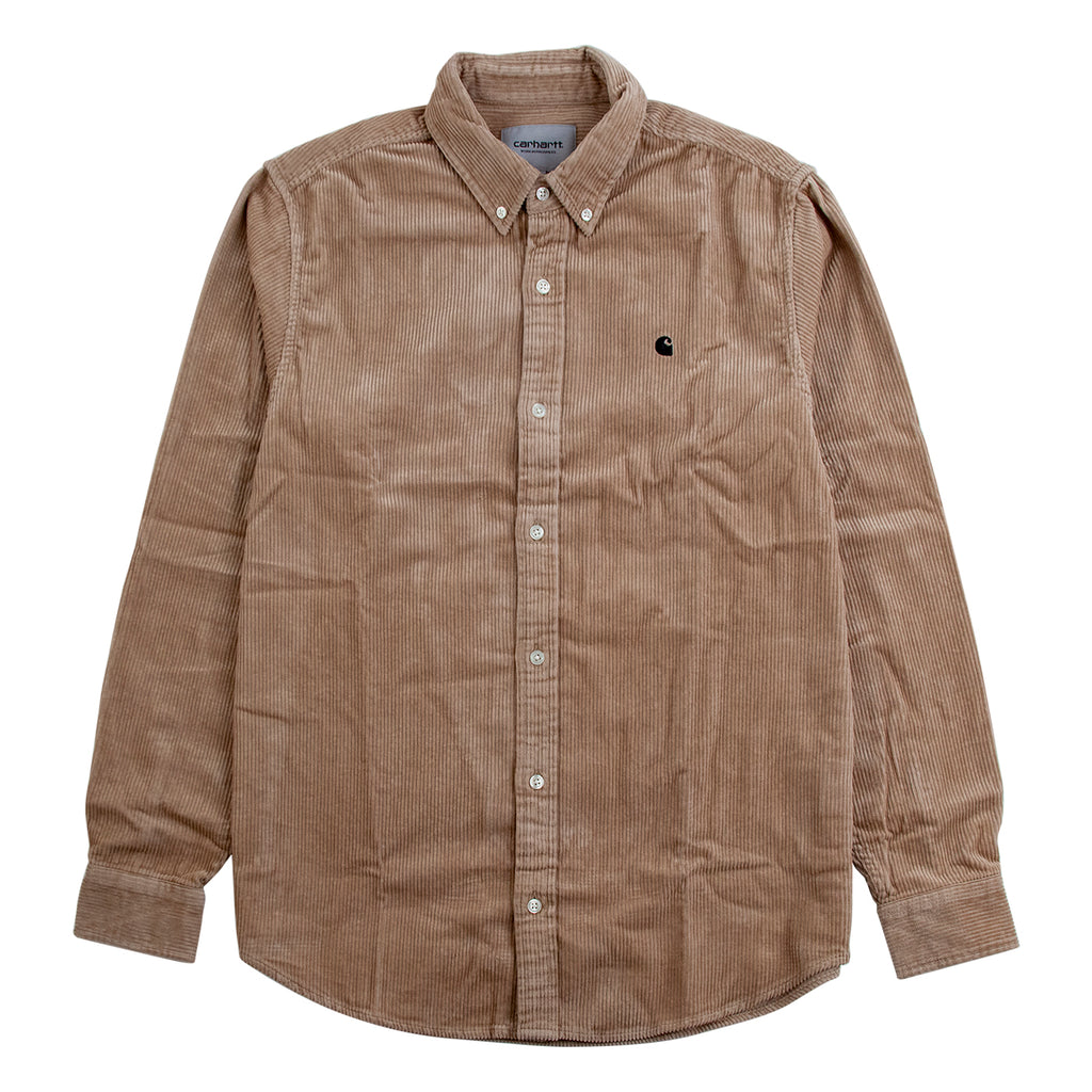 Carhartt WIP L/S Madison Cord Shirt in Wall / Black