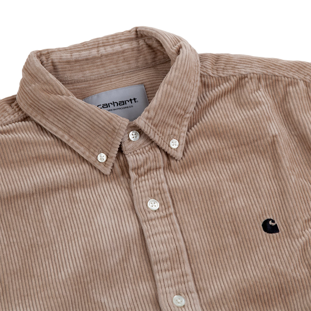 Carhartt WIP L/S Madison Cord Shirt in Wall / Black - Detail