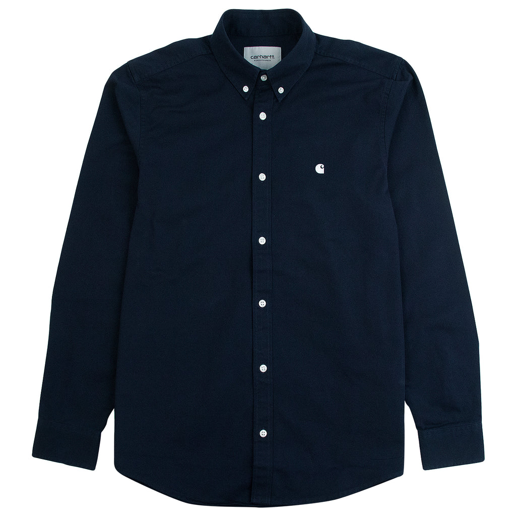 Carhartt WIP L/S Madison Shirt in Dark Navy / White