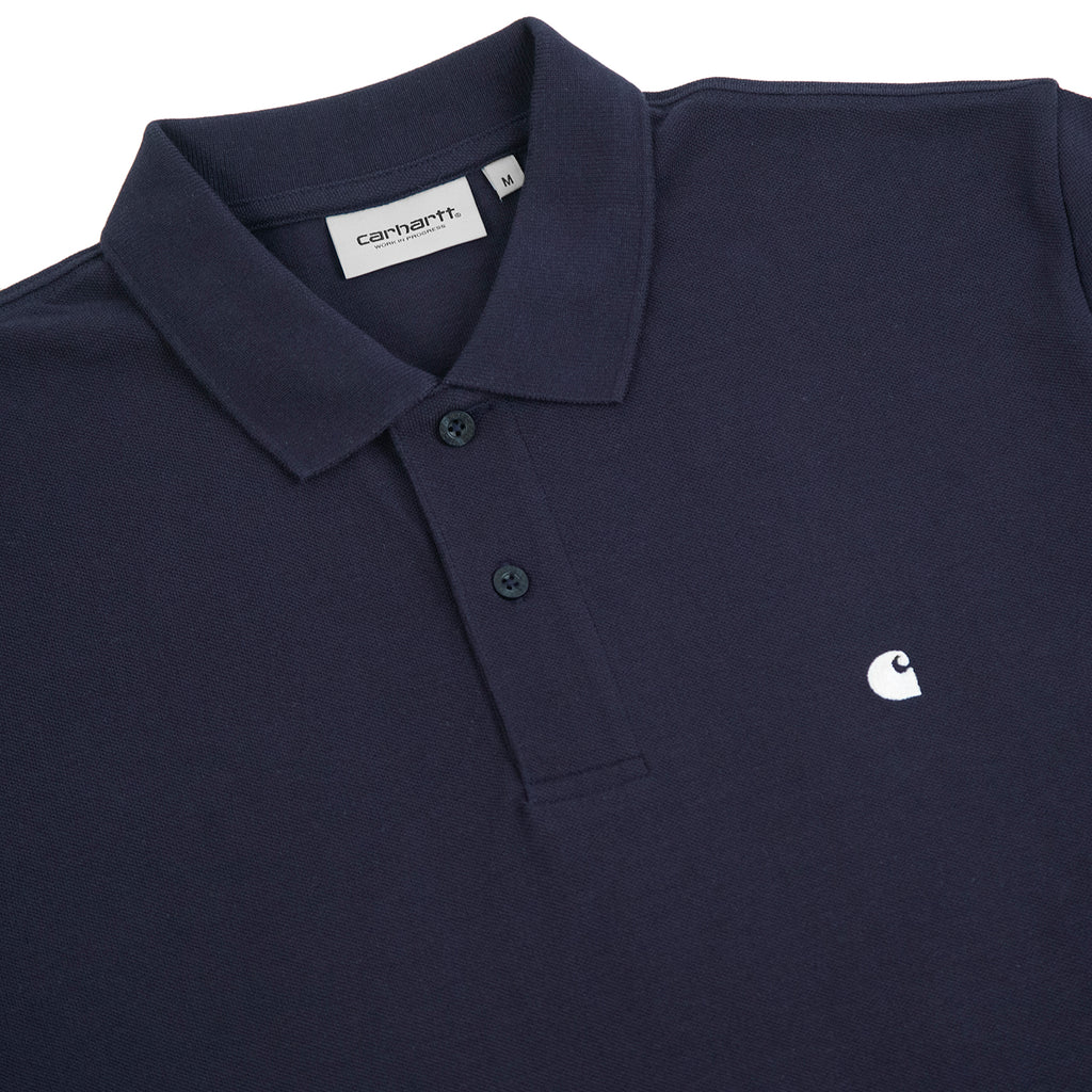 Carhartt Madison Polo Shirt in Dark Navy / Wax - Detail