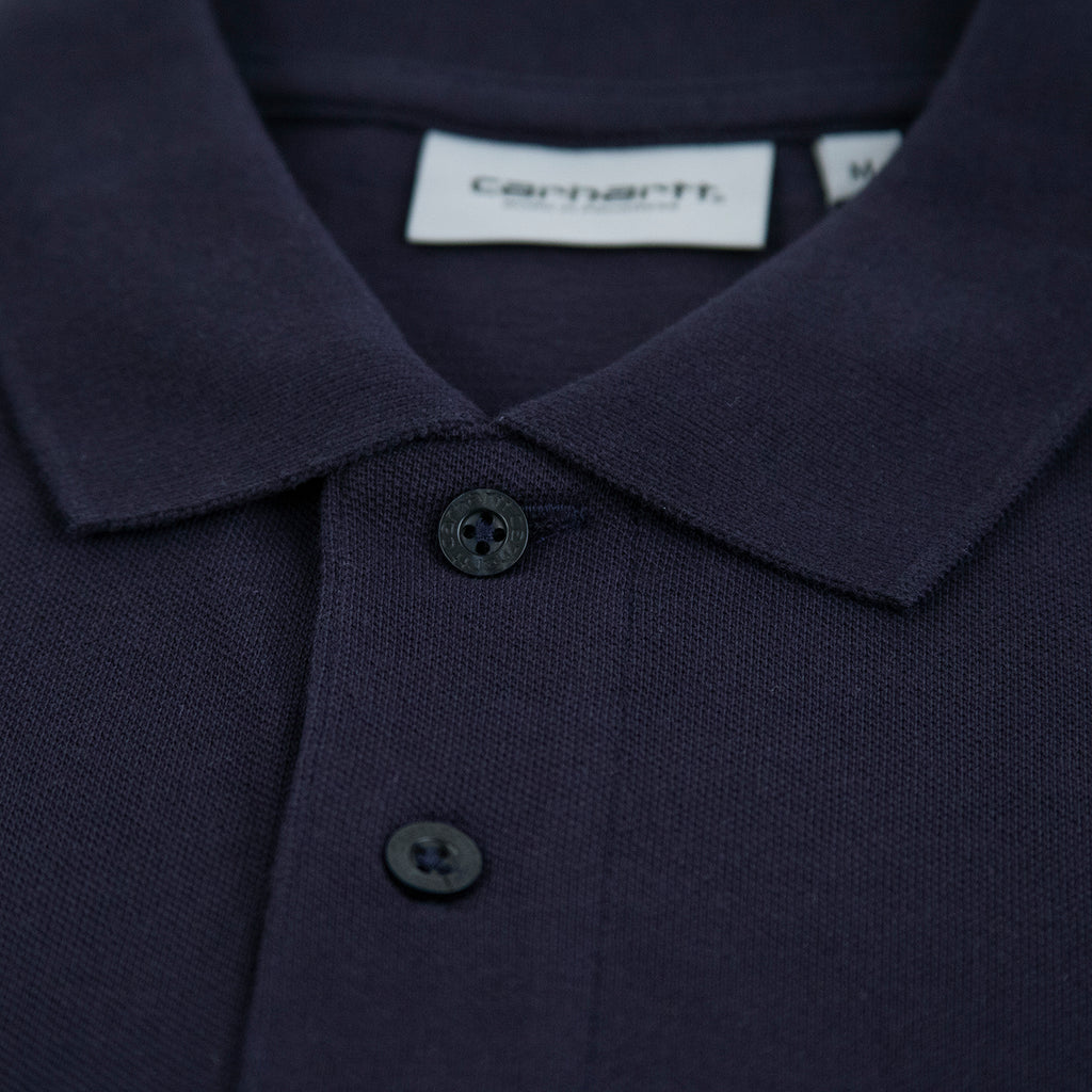 Carhartt Madison Polo Shirt in Dark Navy / Wax - Collar