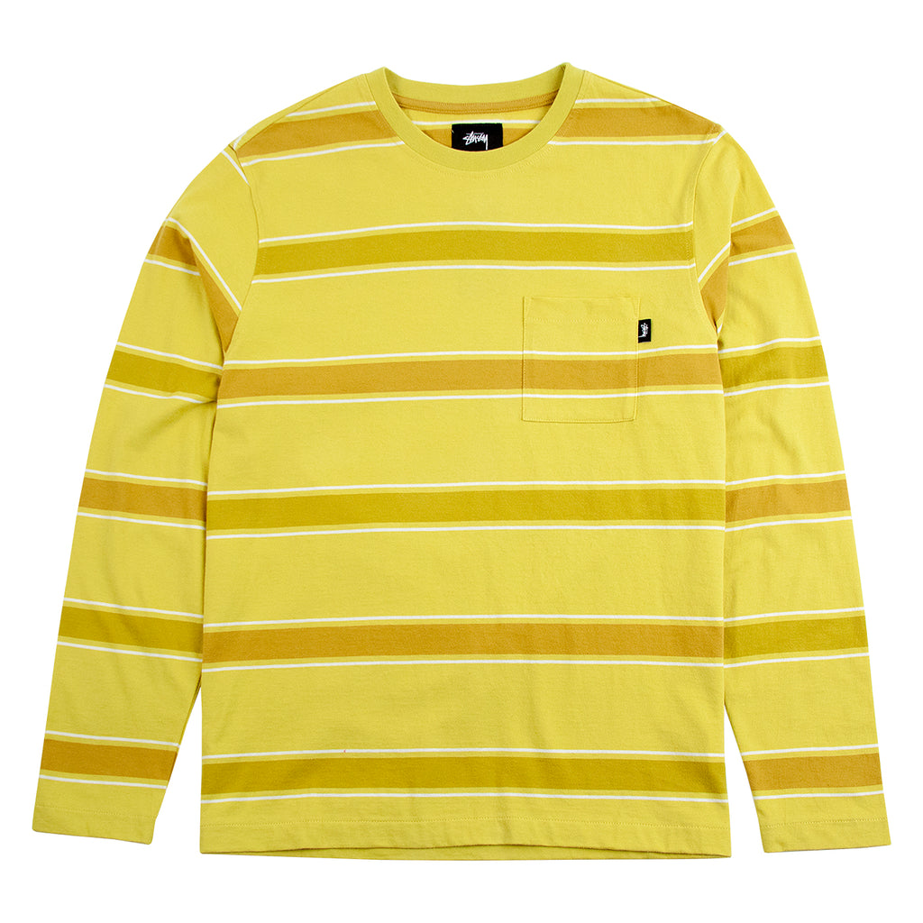 Stussy L/S Marco Stripe Crew T Shirt in Lemon
