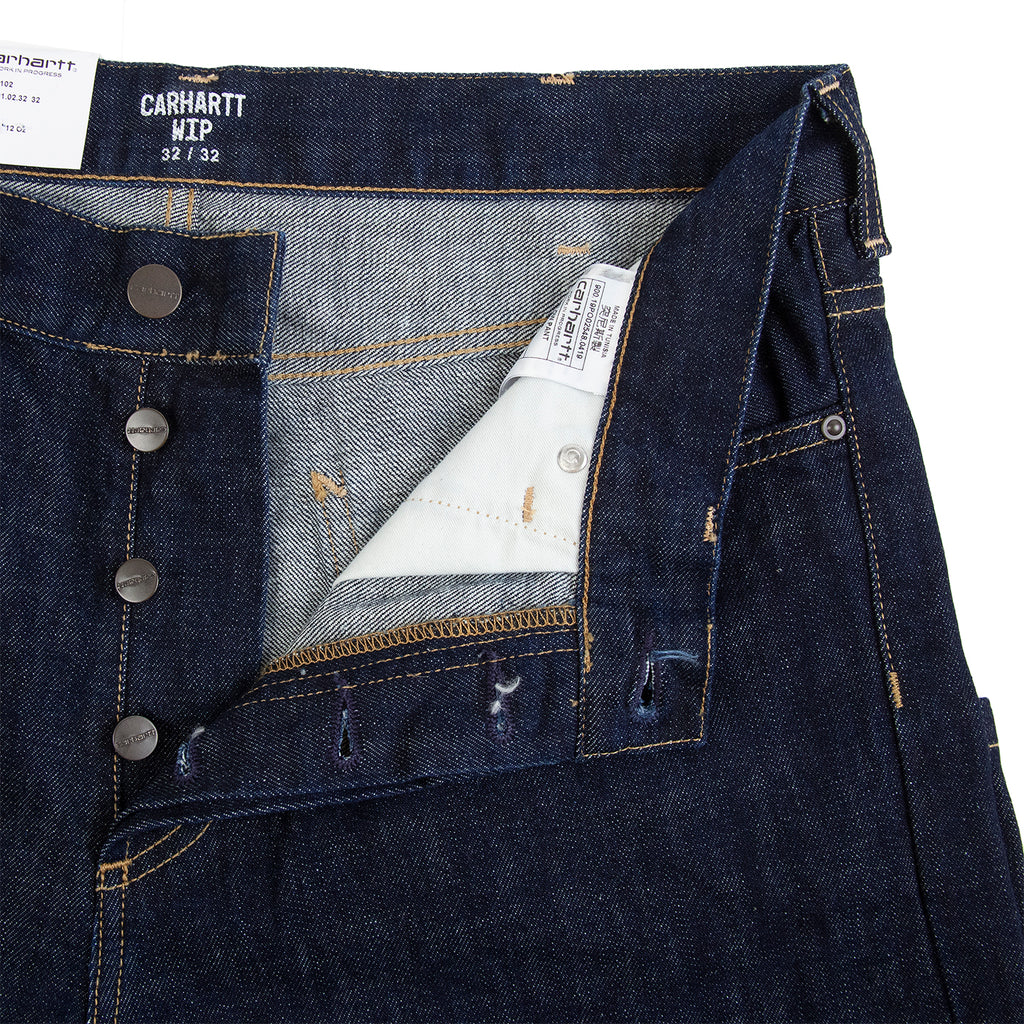 Carhartt WIP Marlow Pant in Blue Denim Rinsed - Buttoned