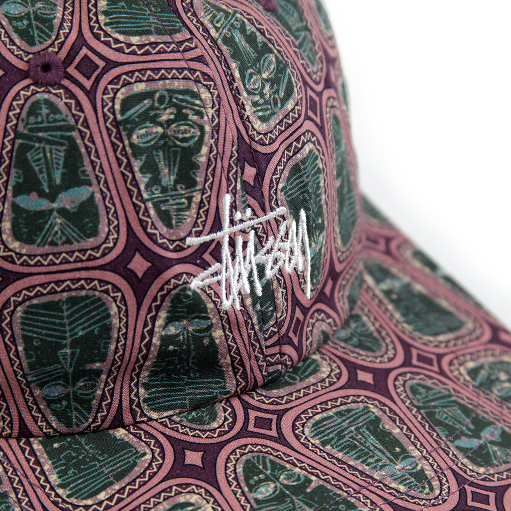 Stussy Mask Pattern Low Pro Cap in Pink - Detail