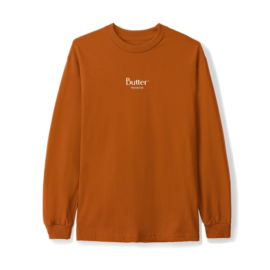 Butter Goods L/S Micro Classic Logo T Shirt in Texas Orange