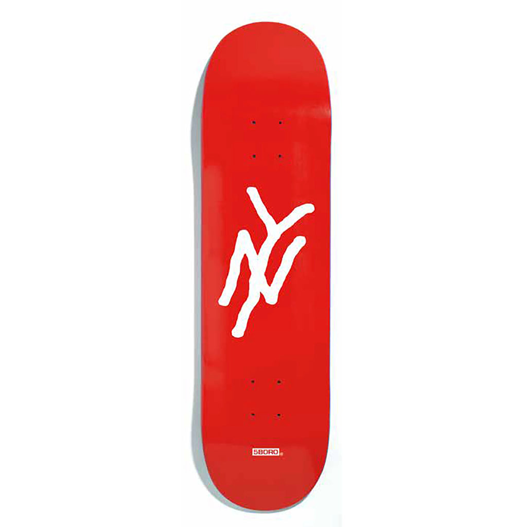 "5Boro NY Monogram Red Skateboard Deck 8.25"" - Bottom"