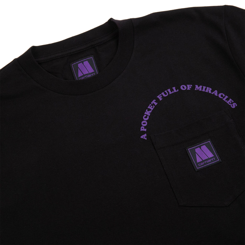 Carhartt WIP x Motown Pocket T Shirt in Black / Prism Violet - Detail