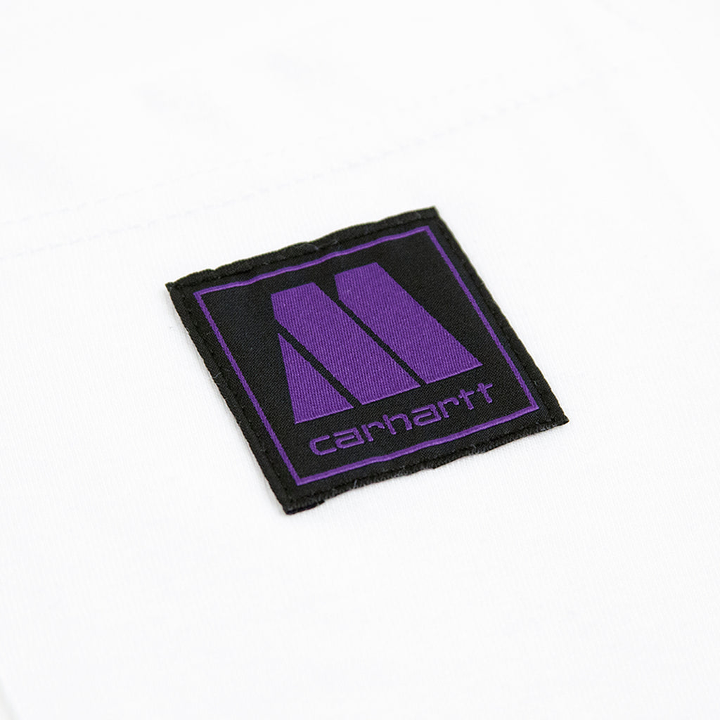 Carhartt WIP x Motown Pocket T Shirt in White / Prism Violet - Label