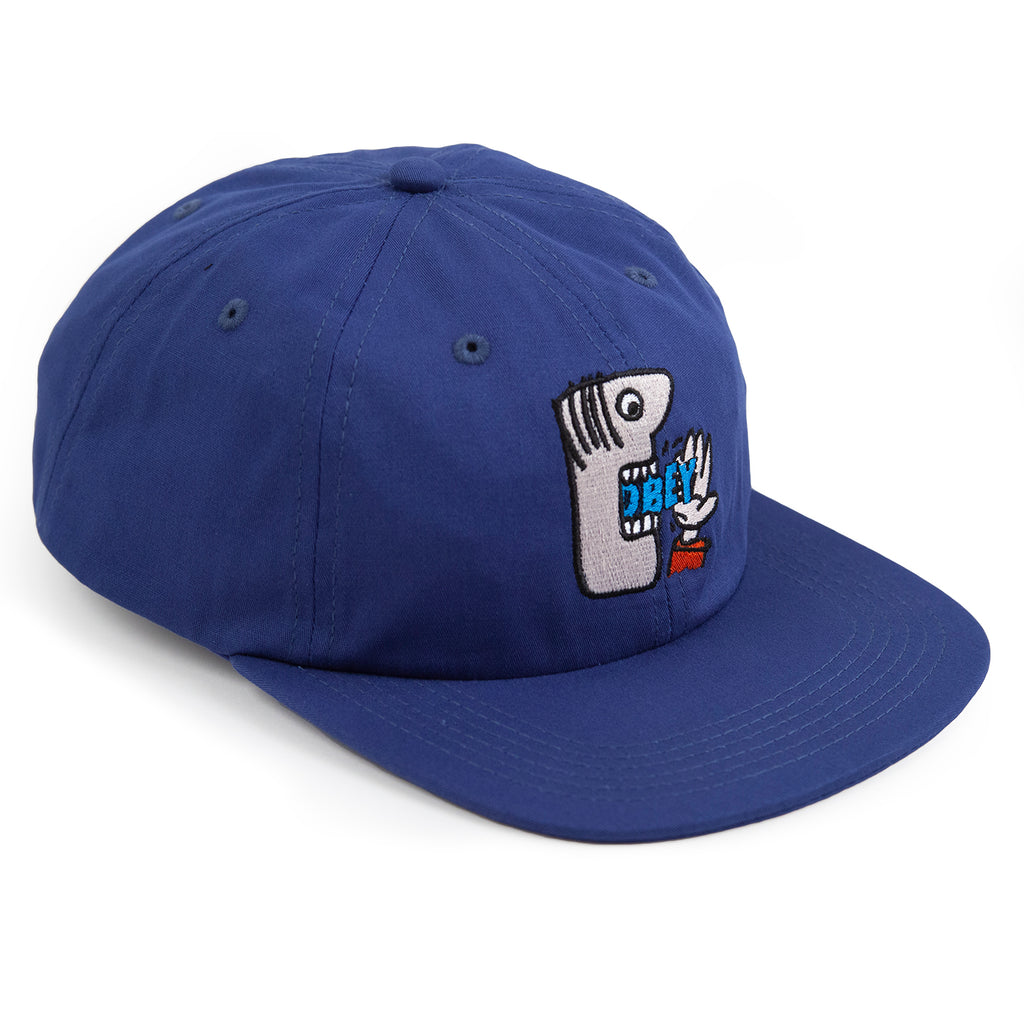 Obey Clothing Munchies 6 Panel Strapback Cap in Blue