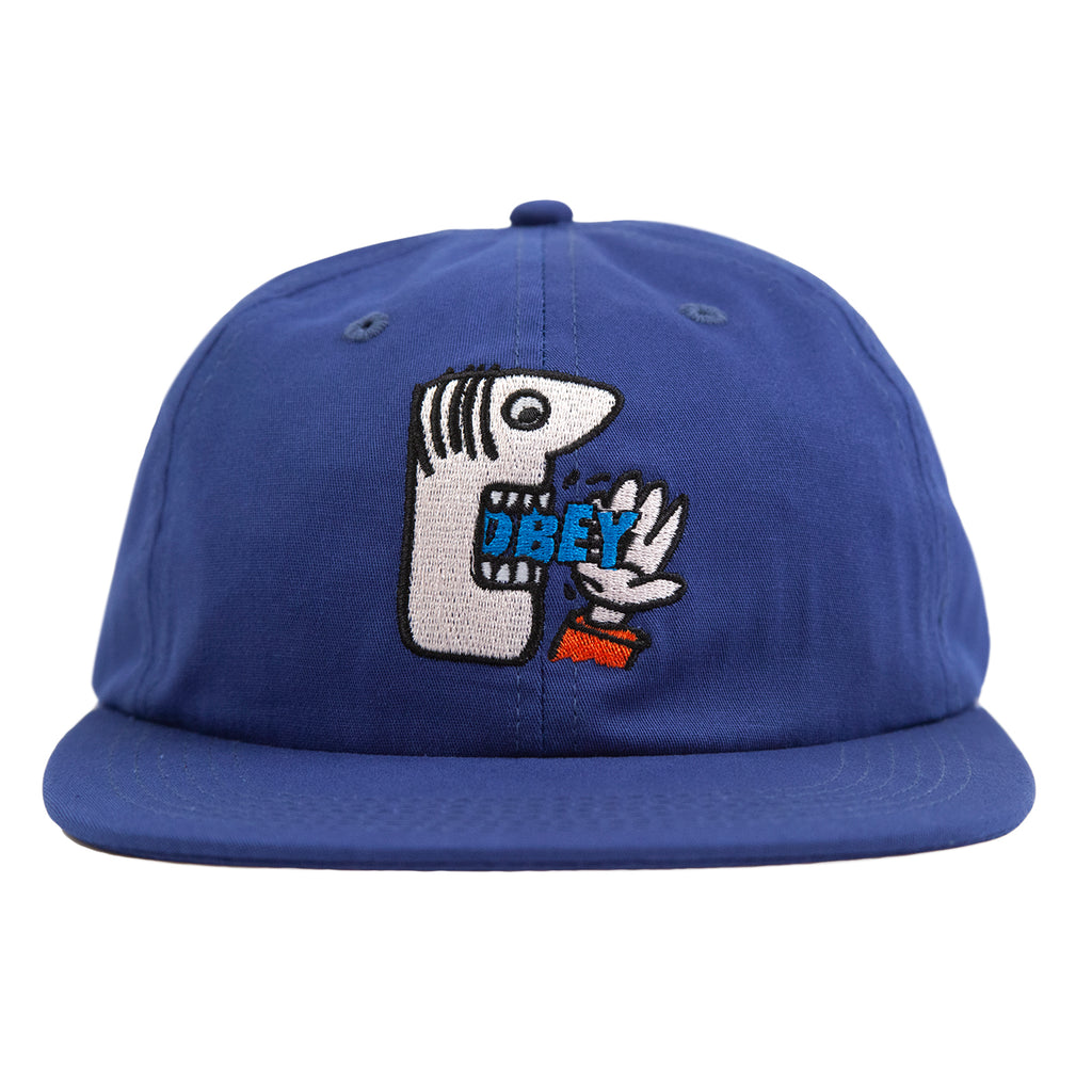 Obey Clothing Munchies 6 Panel Strapback Cap in Blue - Front