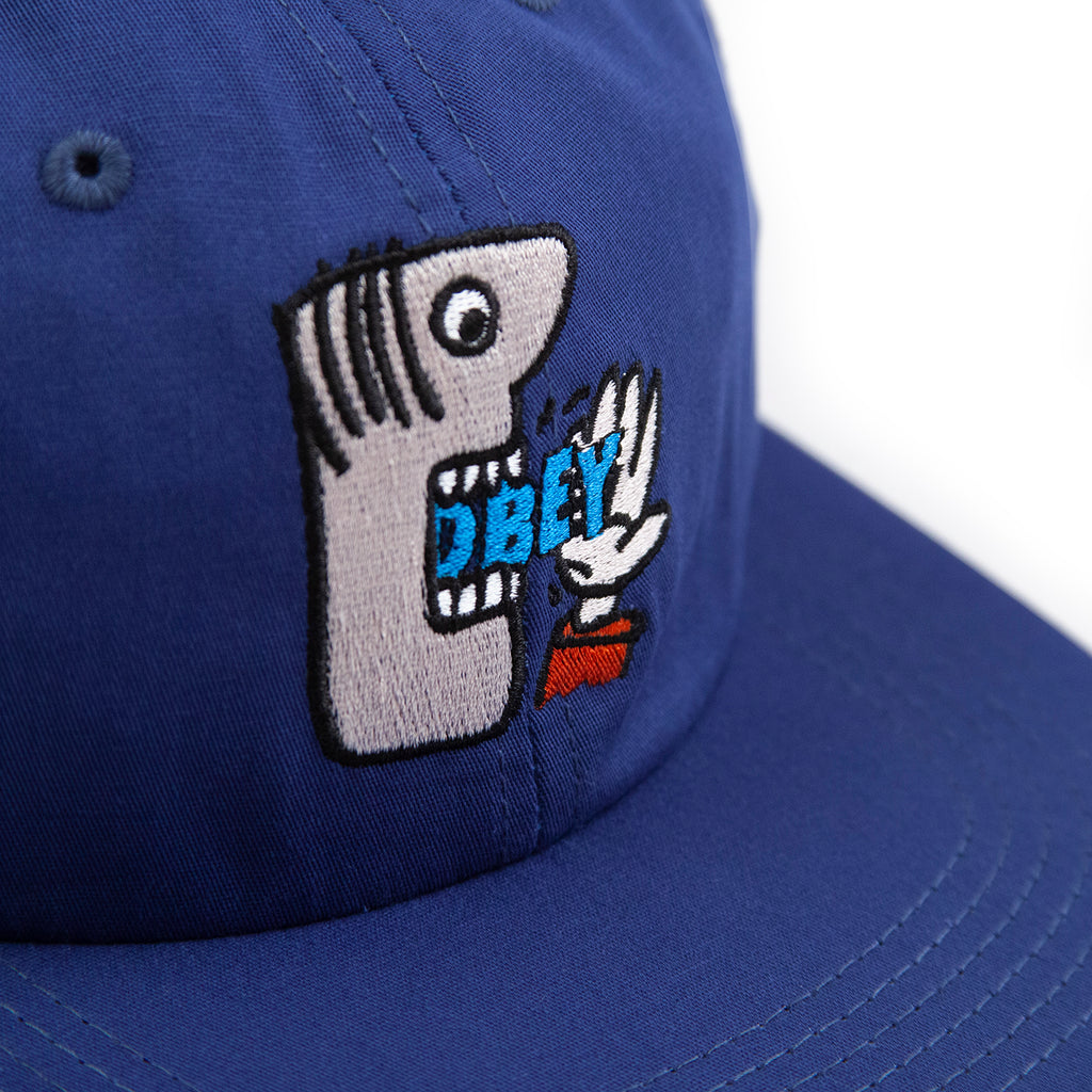 Obey Clothing Munchies 6 Panel Strapback Cap in Blue - Embroidery