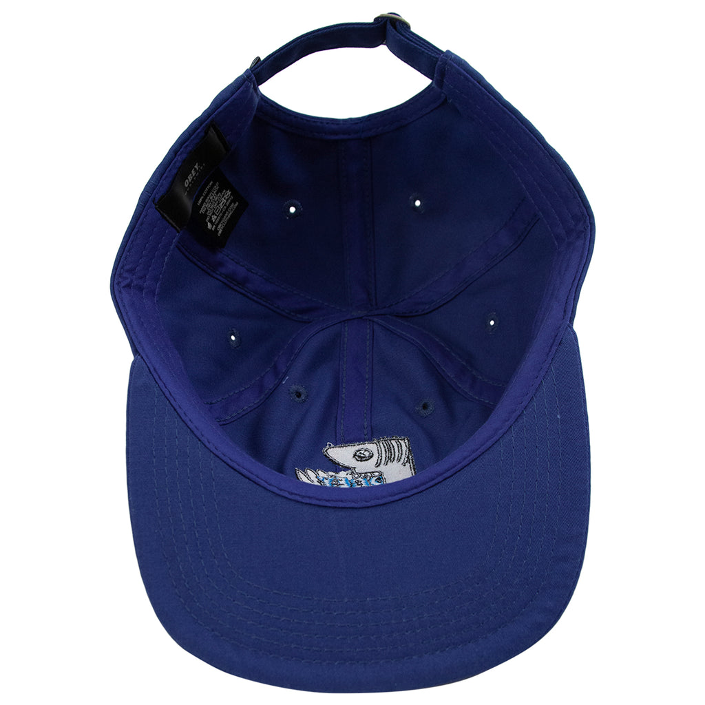 Obey Clothing Munchies 6 Panel Strapback Cap in Blue - Inside