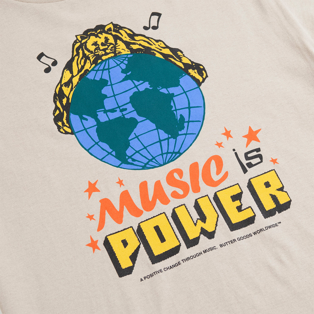 Butter Goods Music Is Power T Shirt in Sand - Print