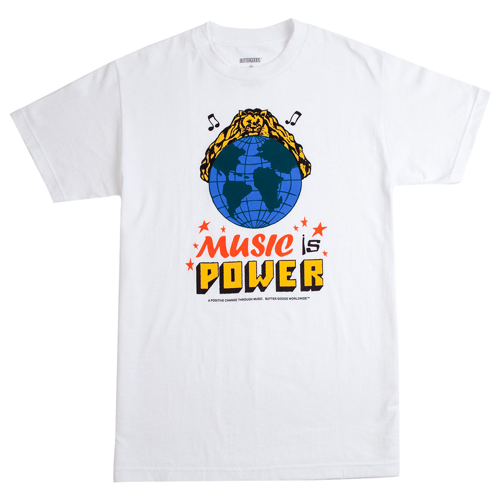 Butter Goods Music Is Power T Shirt in White