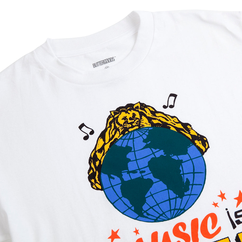 Butter Goods Music Is Power T Shirt in White - Detail
