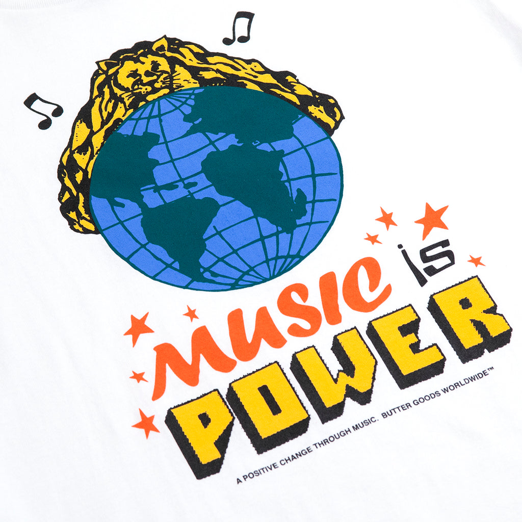 Butter Goods Music Is Power T Shirt in White - Print