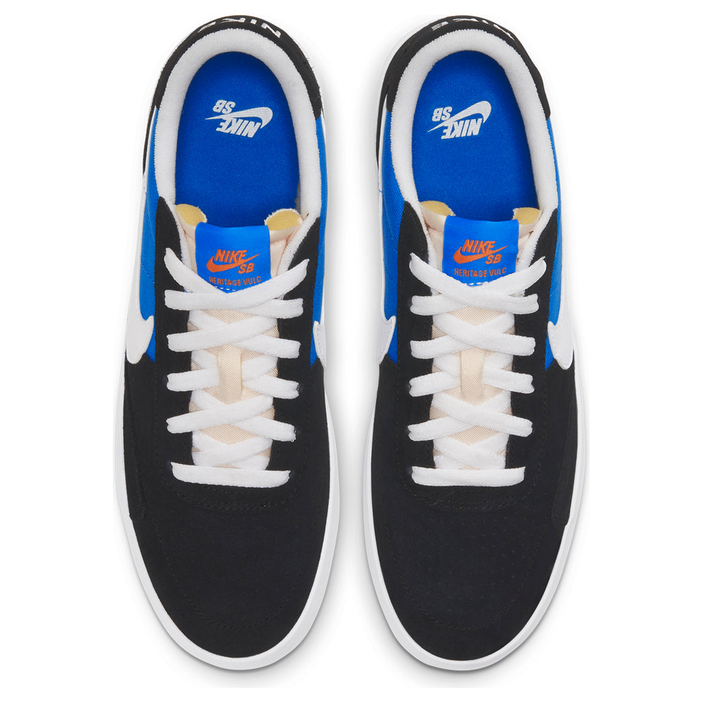 Nike SB Heritage Vulc Shoes in Black / White - Signal Blue - Safety Orange - Top