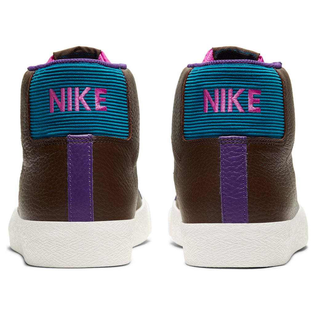 Nike SB Zoom Blazer Mid Premium Shoes in Baroque Brown / White - Back