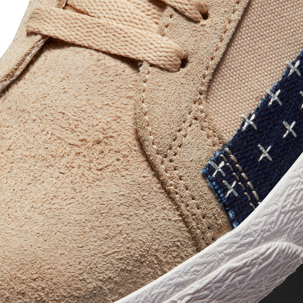 "Nike SB ""Sashiko"" Zoom Blazer Mid PRM Shoes in Sesame / Mystic Navy - Sail - Detail 2"