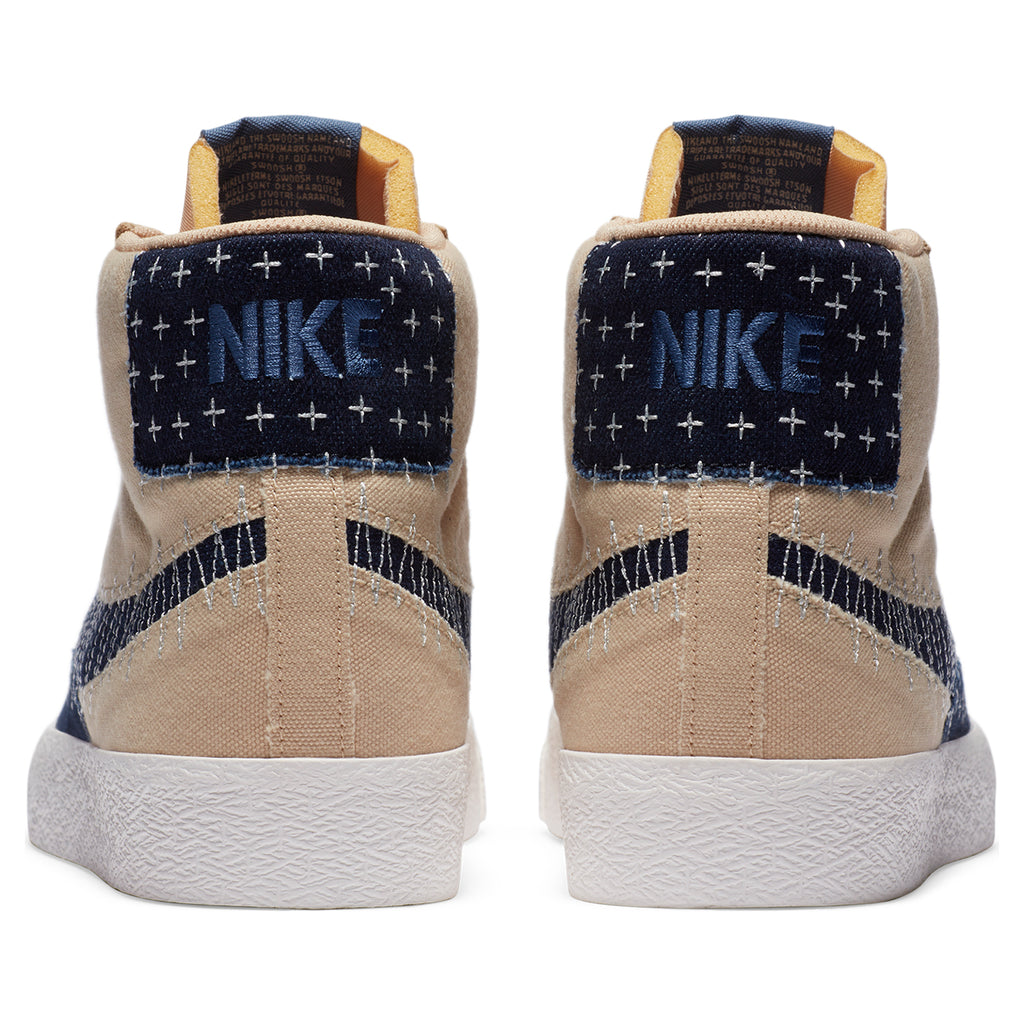 "Nike SB ""Sashiko"" Zoom Blazer Mid PRM Shoes in Sesame / Mystic Navy - Sail - Back"