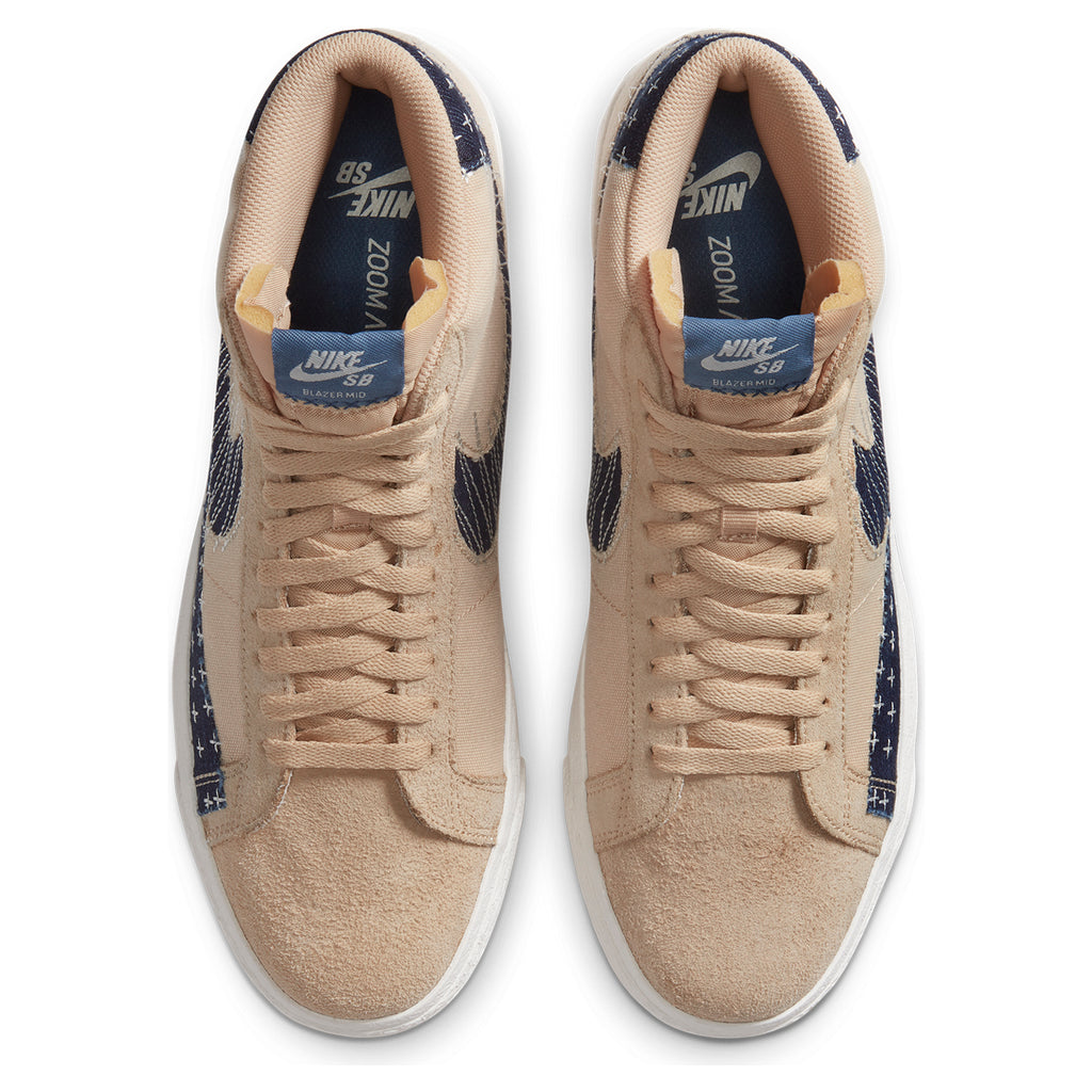 "Nike SB ""Sashiko"" Zoom Blazer Mid PRM Shoes in Sesame / Mystic Navy - Sail - Top"