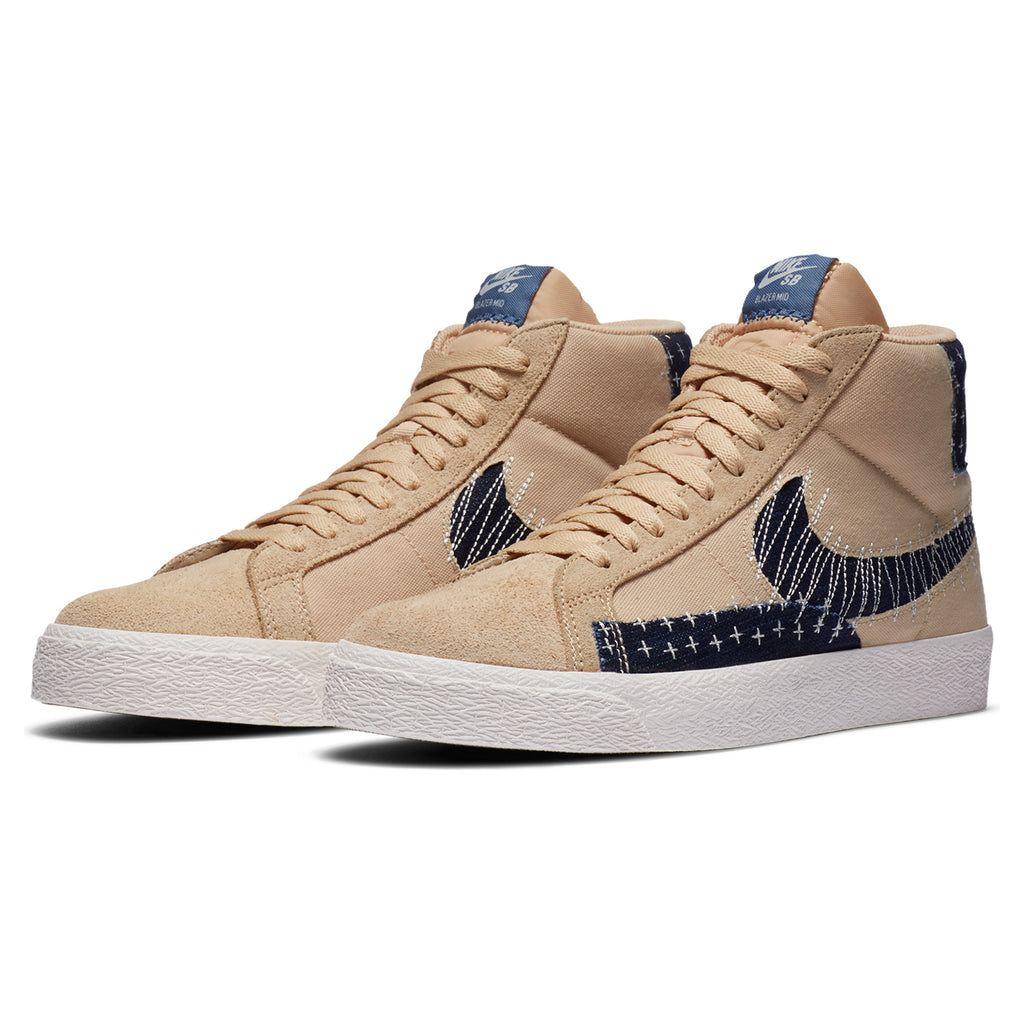 "Nike SB ""Sashiko"" Zoom Blazer Mid PRM Shoes in Sesame / Mystic Navy - Sail - Pair"
