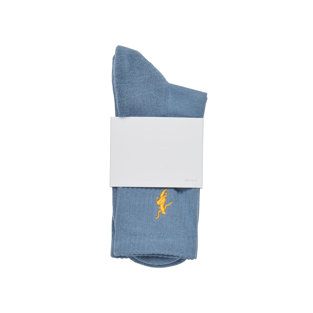 Polar Skate Co No Comply Socks in Slate Blue / Yellow - Packaging