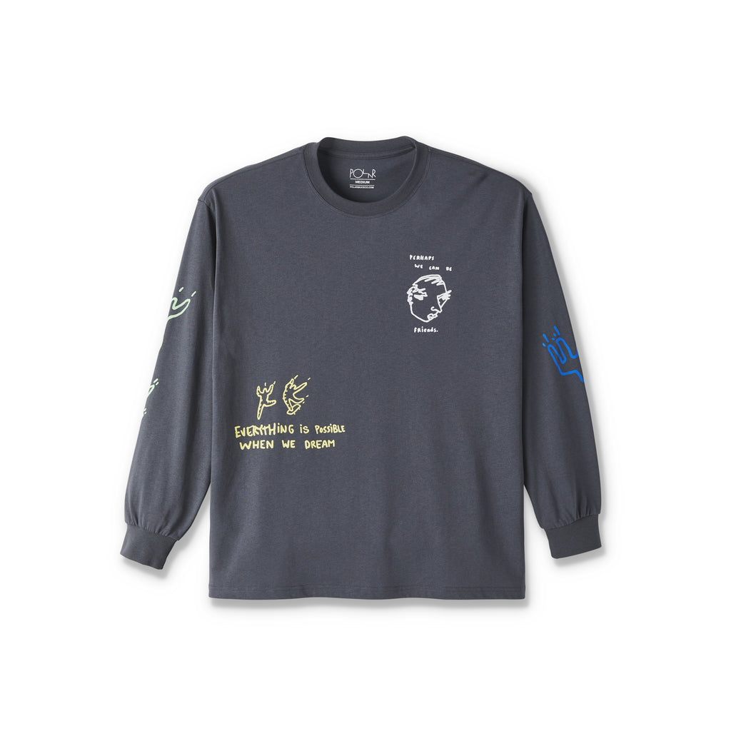 Polar Skate Co L/S Notebook T Shirt in Graphite
