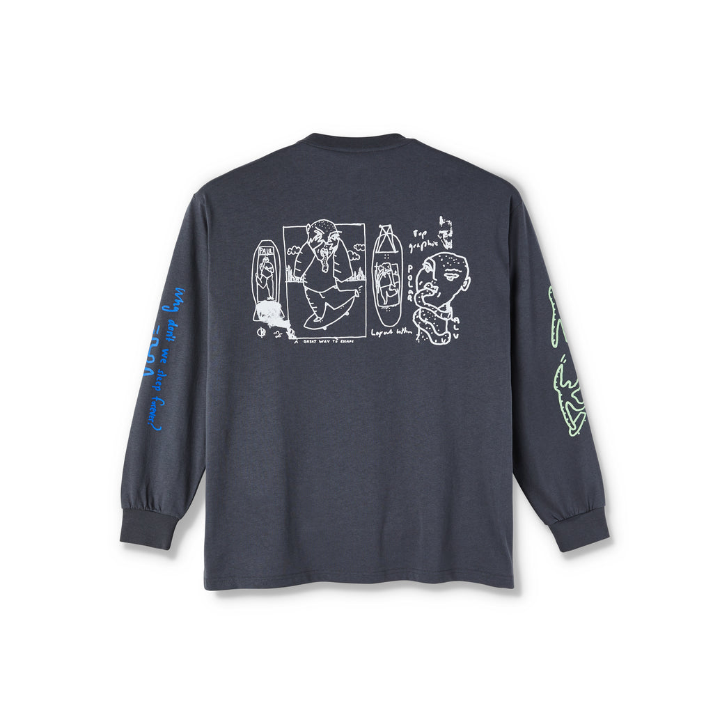 Polar Skate Co L/S Notebook T Shirt in Graphite - Back