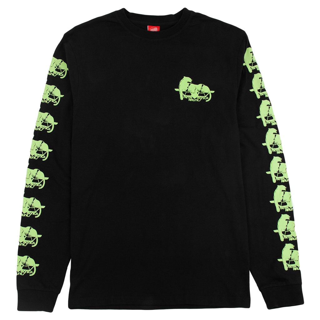 Santa Cruz Natas Panther L/S T Shirt in Black - Front