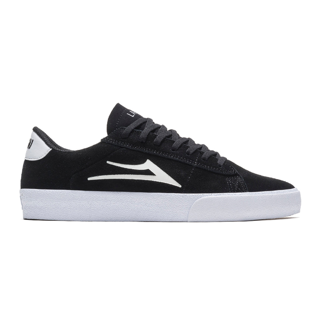 Lakai Newport Shoes in Black / White Suede
