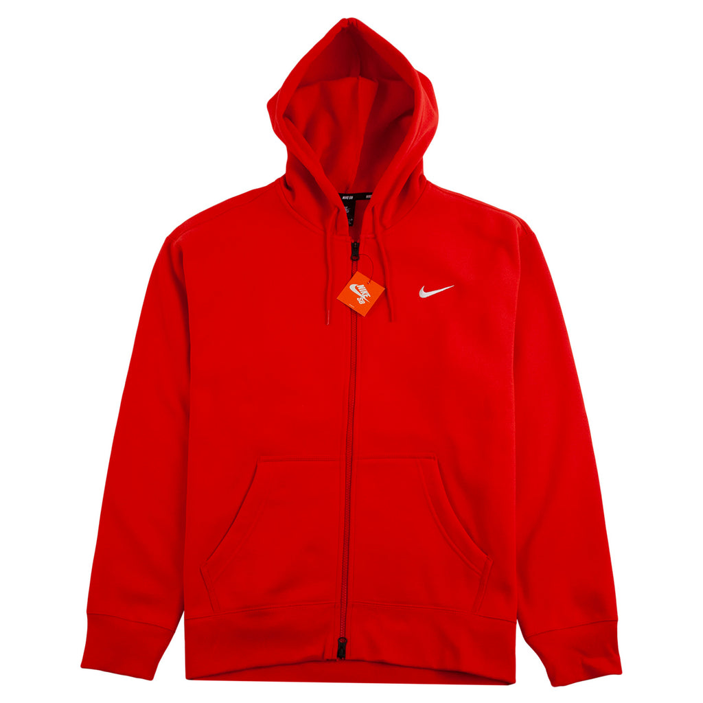 Nike SB Orange Label x Oski Zip Up Hoodie in University Red / Sail