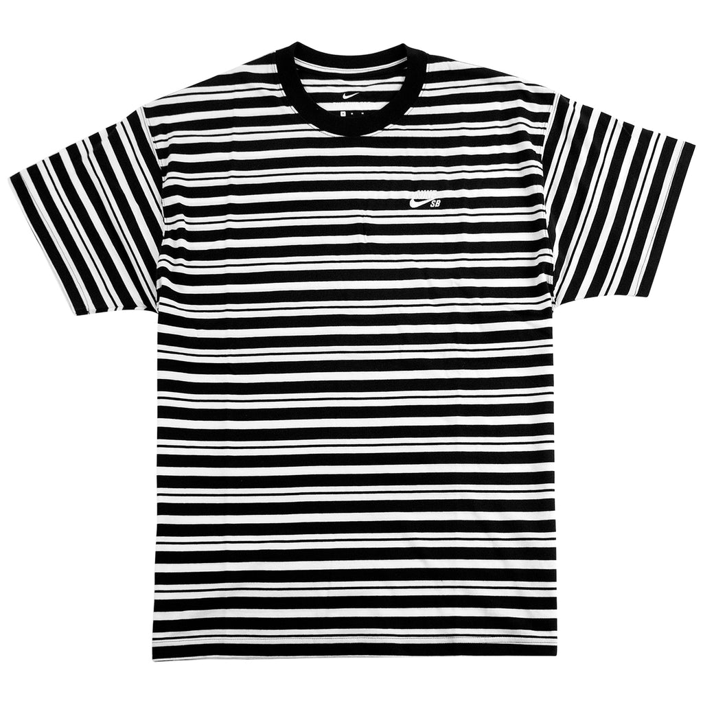 Nike SB Striped AOP T Shirt Black / White - Front