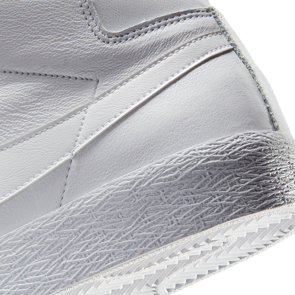 Nike SB Zoom Blazer Mid Shoes in White / White / White - Side