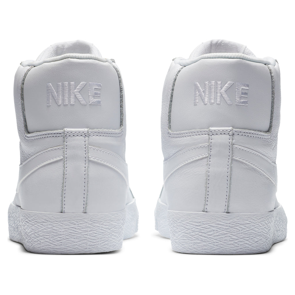 Nike SB Zoom Blazer Mid Shoes in White / White / White - Back