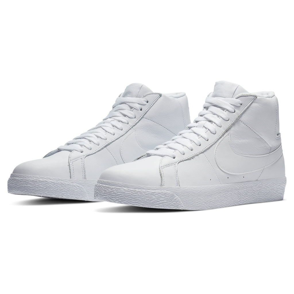 Nike SB Zoom Blazer Mid Shoes in White / White / White - Pair