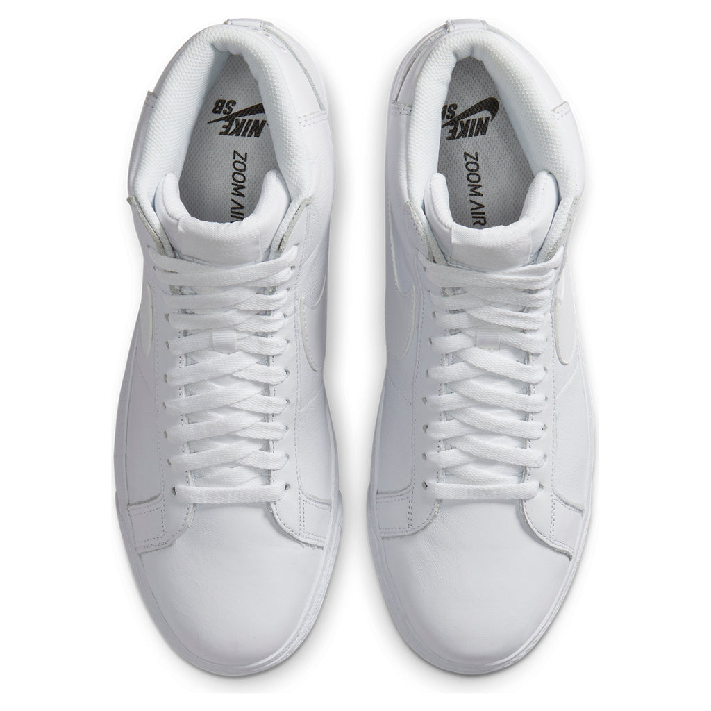 Nike SB Zoom Blazer Mid Shoes in White / White / White - Top