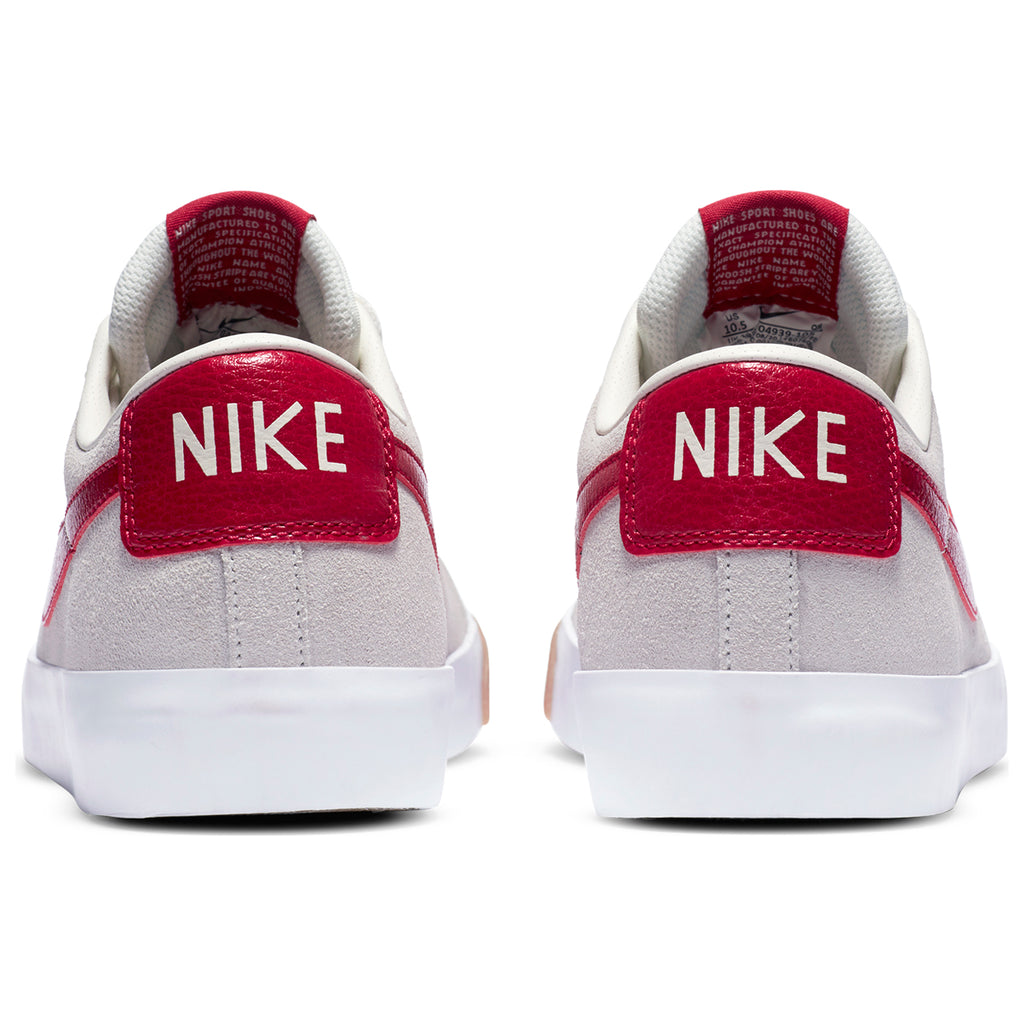 Nike SB Zoom Blazer Low GT Shoes in Sail / Cardinal Red - White - Heel