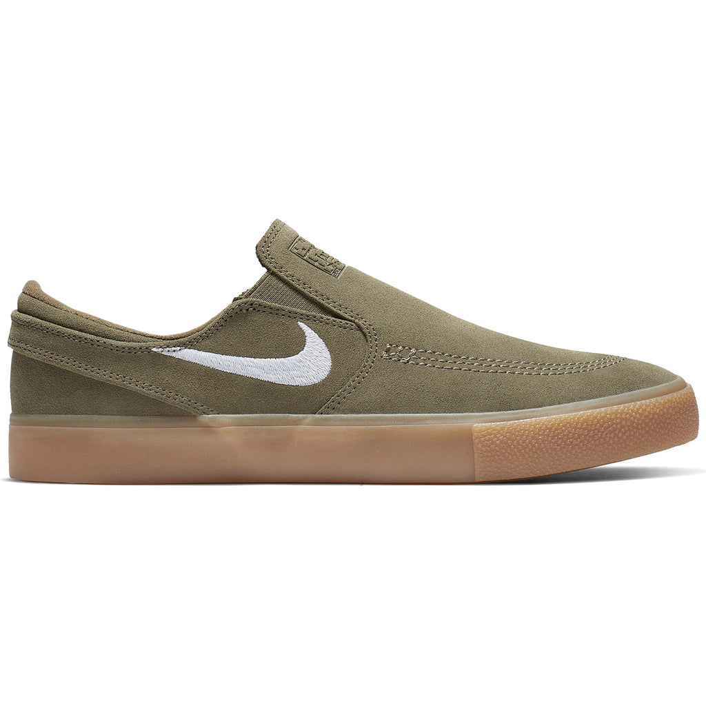 Nike SB Zoom Janoski Slip RM Shoes in Medium Olive / White
