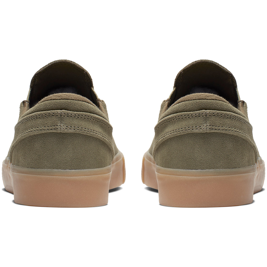 Nike SB Zoom Janoski Slip RM Shoes in Medium Olive / White - Heel