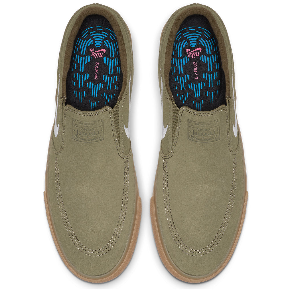 Nike SB Zoom Janoski Slip RM Shoes in Medium Olive / White - Top