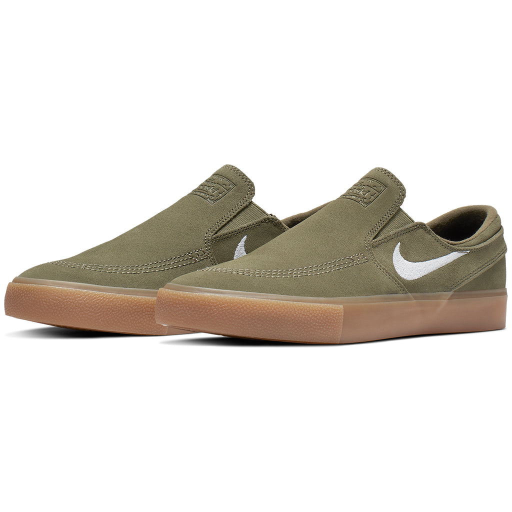 Nike SB Zoom Janoski Slip RM Shoes in Medium Olive / White - Pair