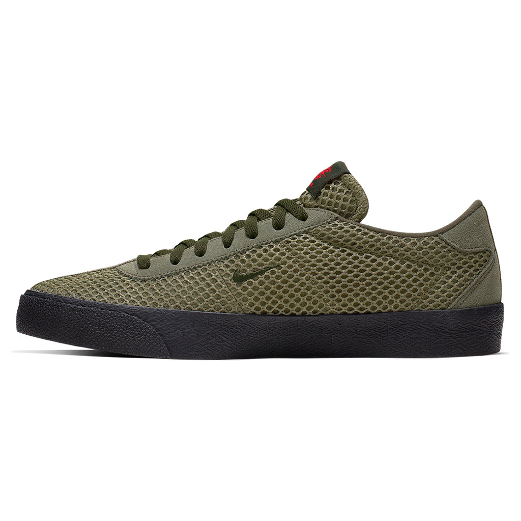Nike SB Orange Label Ishod Wair Zoom Bruin Shoes in Sequoia / Medium Olive - Safety Orange - Inside