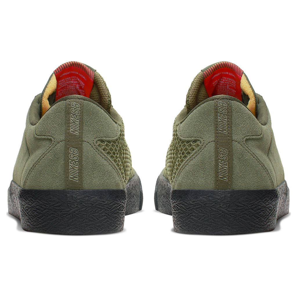 Nike SB Orange Label Ishod Wair Zoom Bruin Shoes in Sequoia / Medium Olive - Safety Orange - Heel
