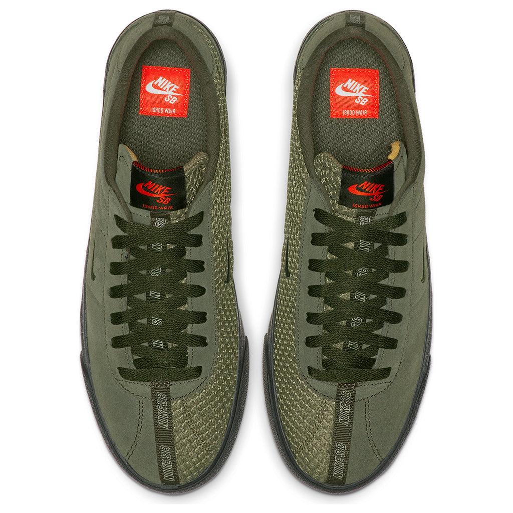 Nike SB Orange Label Ishod Wair Zoom Bruin Shoes in Sequoia / Medium Olive - Safety Orange - Top